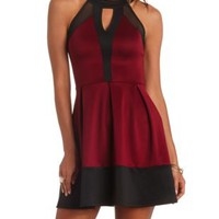 Mesh Cut-Out Color Block Skater Dress by Charlotte Russe - Wine Combo