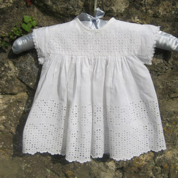 Vintage Baby Dress, Baby Gown, Crisp White Dress, Broderie Anglaise, Party, Photograph