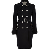 River Island Womens Navy long sleeve traditional trench coat