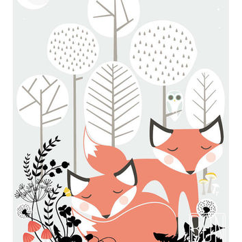 Foxes Art print, woodland fox poster, sleeping foxes, woodland animals, home decor wall print, cute fox art