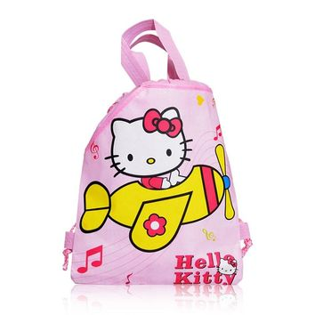 1PC Hello Kitty Children Drawstring Backpacks  Bags 34*27CM Non Woven Fabrics Kids Xmas Party Gift Home Storage