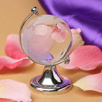 ORAF Round Earth Globe Beautiful Clear Home Decoration Gold Silver Christmas Gift Table Ornaments Desk Decor Paperweight Stand