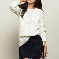 Step Hem Gauge Knit Sweater