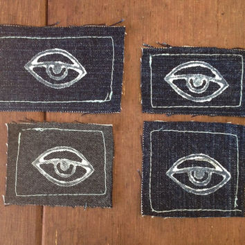Single eye , sew on patches , recycled denim , hand stamped , eye , all seeing eye