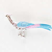 Vintage Peacock Brooch with Pink and Blue Enamel, Gerry's