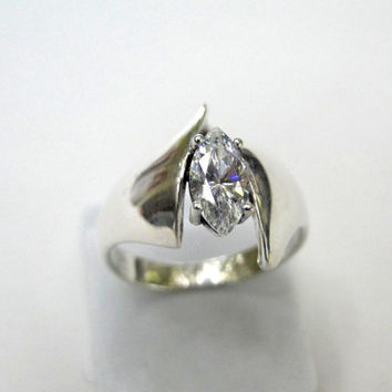 Sterling Ring 1.32 tcw Solitaire Marquise Diamonique Wide Band Size 7.75