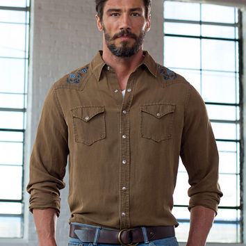 Ryan Michael Men's Silk Linen Western Shirt