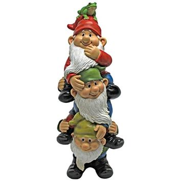 SheilaShrubs.com: Tower of Three Gnomes And A Frog Statue QM2360300 by Design Toscano: Gnomes