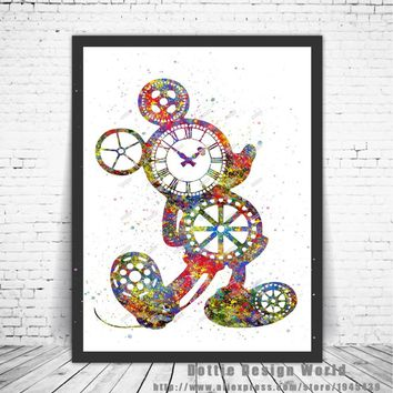 Original Watercolor Steampunk Gear Mickey poster print Pictures canvas painting Modern wall art Kids Room Decor Christmas gifts