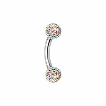 Multi-Sprinkle Dot Curved Barbell Eyebrow Ring