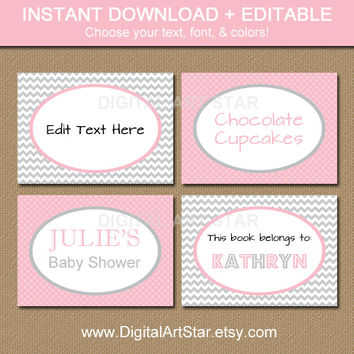 Editable Printable Chevron Buffet Cards, Labels, Tent Cards, Candy Buffet Labels, Valentine Labels - Pink Gray - INSTANT DOWNLOAD