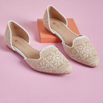 Well-Stepped d'Orsay Flat in Beige Blossom