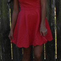 Scalloped Solid A Line Dress