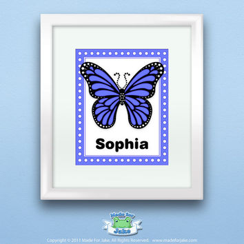 Personalized Blue Monarch Butterfly Print, Customize with Name, Wall Art Decor for Nursery or Kids Room, 8x10