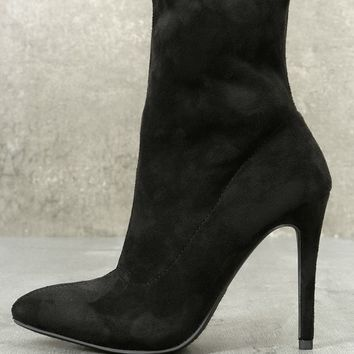 Bambi Black Suede Mid-Calf Boots