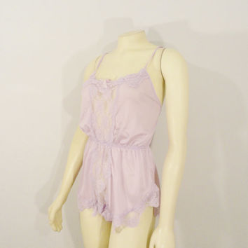 SALE Vintage Teddy Lingerie Avian Lavender Purple Nylon Satin & Lace Romper Onsie Made in USA Size Large Modern Small to Medium
