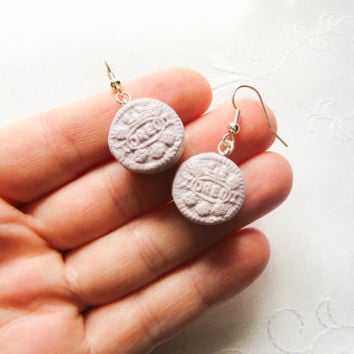 Purple Oreo Cookie Earrings, Pastel, Oreo Earrings, Food Earrings, Polymer Clay, Miniature Food, Cute Earrings, Kawaii, Sweet Lolita