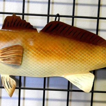 "28"" Steel Redfish Red Drum hand painted fish wall hanging nautical decor LEFT"