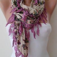 Purple and Tropical Flowered Scarf with Purple Trim by SwedishShop