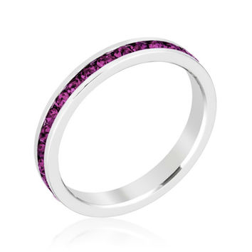 Gail Amethyst Purple Eternity Stackable Wedding Ring | 1 Carat | Crystal