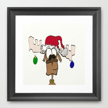 Reindeer Decked Out With Santa's Hat Framed Art Print by One Artsy Momma