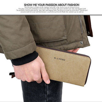 2016 Fashion Men's Leather ID Credit Card Holder Zip Wallet Purse Clutch 3C
