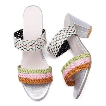 Knitting Double Band Chunky Heel Sandals