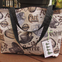 Reversible Tote Bag Purse Large French Cafe Coffee Print