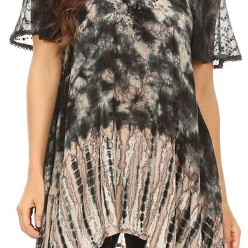 Sakkas Elba Womens Short Sleeves Handkerchief Hem Blouse Top Tie-dye with Sequin