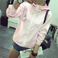 Fashion Hooded Smile Print Thin Outwear Windbreaker