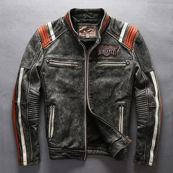 leather motorcycle jacket vintage stand collar