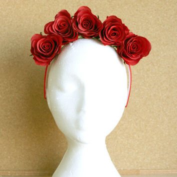 Red Rose Red Headband Flower Crown