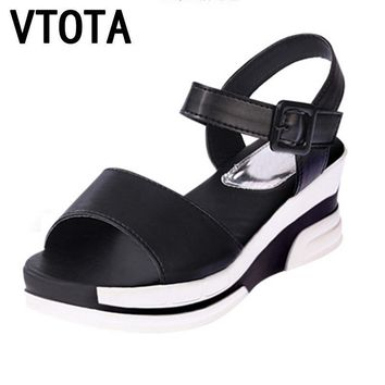 Women Summer Platform Wedges With Pin Buckle Closure
