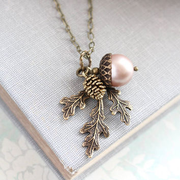 Blush Pearl Acorn Necklace Acorn Charm Pendant Bridesmaids Gift Nature Pinecone Branch Leaf Rustic Oak Woodland Wedding Autumn Jewelry