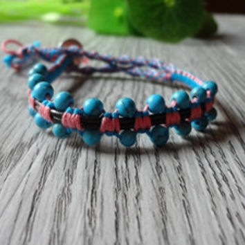 Turquoise Stone Beaded Pink Blue Rope  Weave Simulated Leather  Bracelet