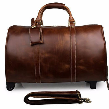 Men's Genuine Cow Leather Travel Suitcase Duffle