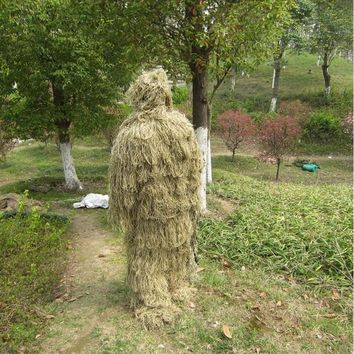 Outdoor CS Bionic Grass Ghillie Suit Sniper Tactical Camouflage Sets With Hoody Rifle Covers Hunting Combat Jungle Clothess
