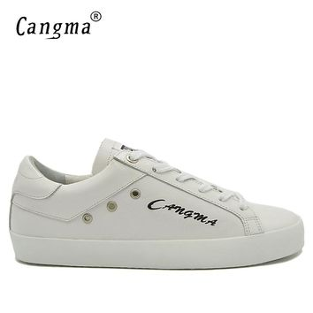 CANGMA Handmade White Italian Designer Shoes For Man Luxury Brand Genuine Leather Sneakers Men's Casual Retro Male Lace Up Shoes