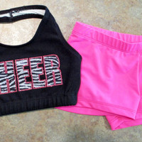 Custom Glitter Three Color Zebra Print Cheer Set - Halter Sports Bra and  Hot Shorts - Dance Gymnastics - Multiple Color Options