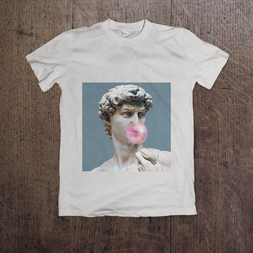 Gum Chewing David Statue T-Shirt / Unisex Tee / Blue, Pink, White / XS-XXL