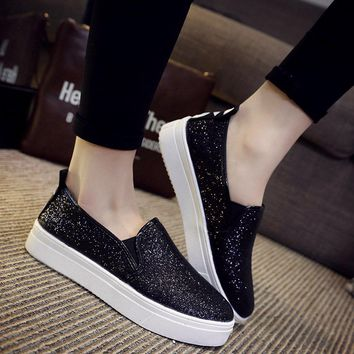 fashion shoes women loafers shoes flats glitter single shoes breathable platform sequi  number 1