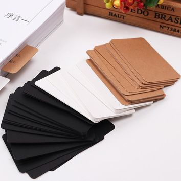100PCS Black White Message Cardboard Kraft Paper Notepads Blank Plan Loose-Leaf Notepad 3 Colors Vocabulary Card Stationery