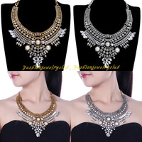 New Vintage Tribal Ethnic Chain White Pearl Statement Chunky Choker Bib Necklace = 1947044292