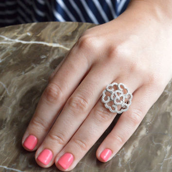 Floral Art Deco Ring - Micro Pave Silver Ring - Sterling Silver Flower Ring - Cubic Zirconia Ring