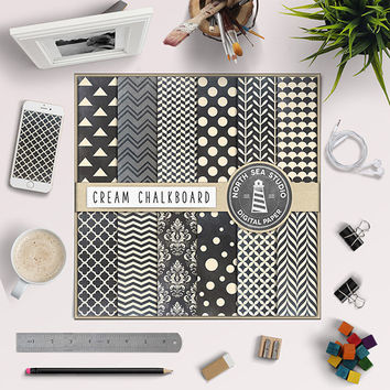 Chalkboard Digital Paper Cream Ivory Pattern Blackboard Background Chalkboard Damask Polkadot Scallop Chalk Board Papers Digital Scrapbook