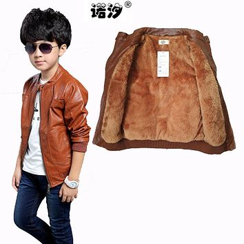 Children clothing kids PU leather jacket 5-17 Y boys clothing spring winter plush inside and Not velvet inside boys leather coat