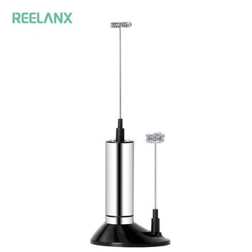 REELANX Electric Milk Frother 2 Whisk Hand Milk Foamer Kitchen Mixer for Cappuccino Coffee Egg Beater Drinks Blender with Stand