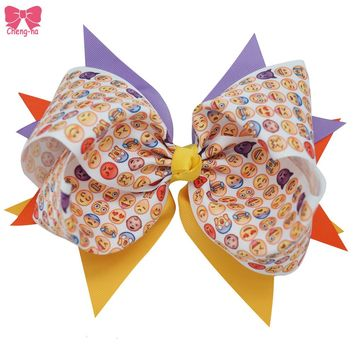8 Inch Big Emoji Hair Bows Printed Smiley Emoticon Bow Boutique Hairclip For Girls Teens Texting Bow Hot Headwear