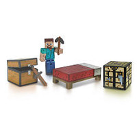 Minecraft - Core Player Survival Pack - (Workbench, Pick axe, Sword, Bed, Chest, and Steve)