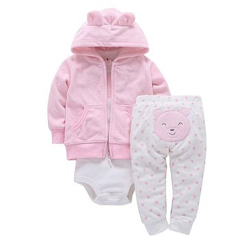2017 Cotton Full Rushed Direct Selling 3 Oz. Baby Girl's Jacket Trousers T-shirt Boy Fashion Girl Dress Suit Boy's Tights Cloth
